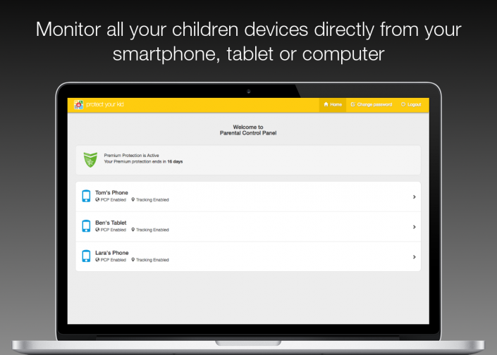 Monitor all your children devices directly from your smartphone, tablet or computer